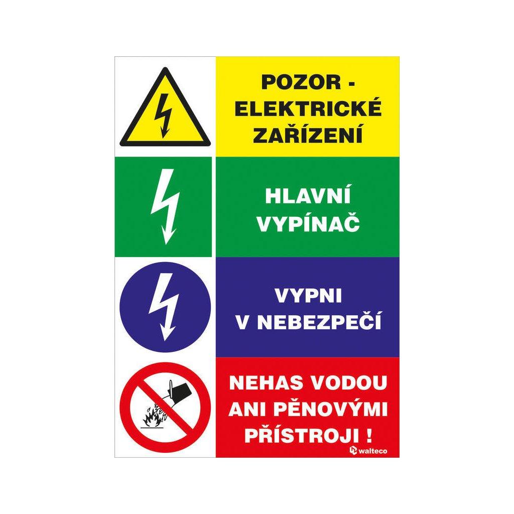 Pozor, elektrické zařízení 100x150mm, čtyřkombinace, samolepka