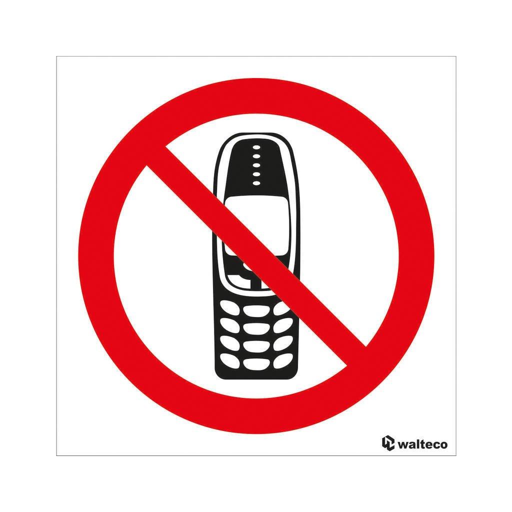 Zákaz používání mobilních telefonů 90x90mm, samolepka