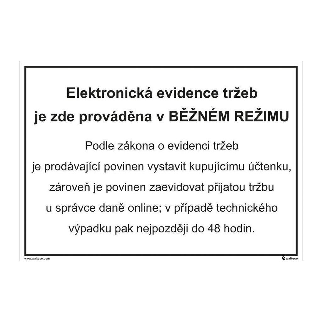 Elektronická evidence tržeb - běžný režim 297x210mm, formát A4, samolepka