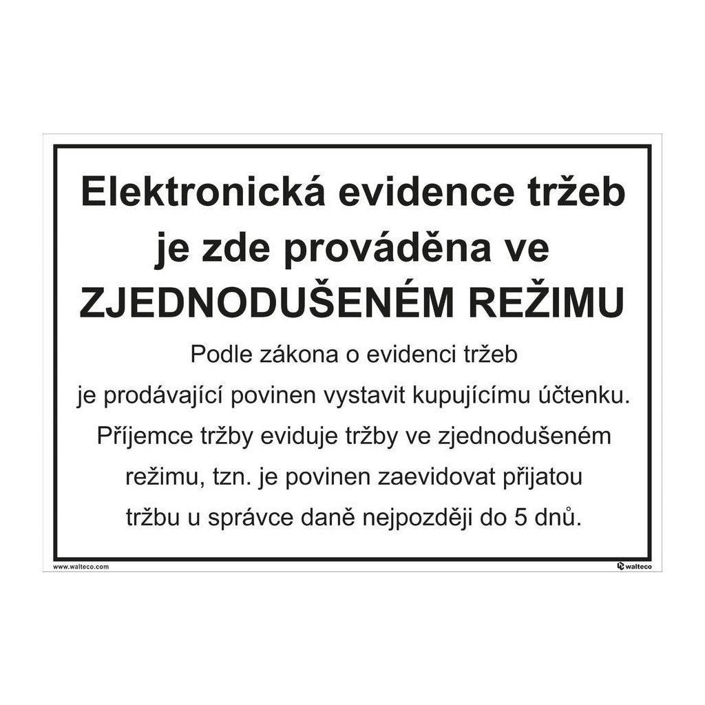 Elektronická evidence tržeb - zjednodušený režim 297x210mm, formát A4, samolepka
