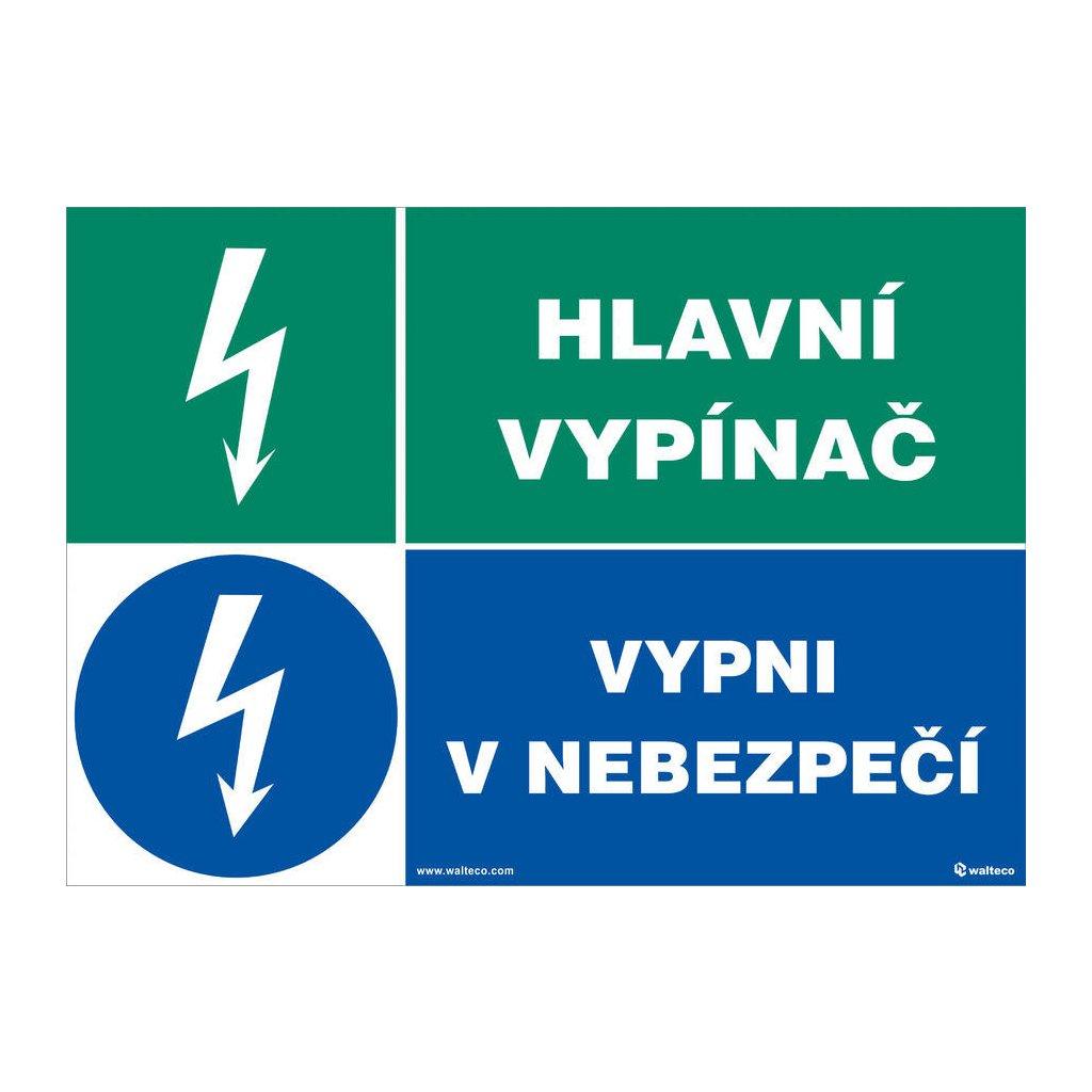 Hlavní vypínač/vypni v nebezpečí, 297x210mm, formát A4, samolepka