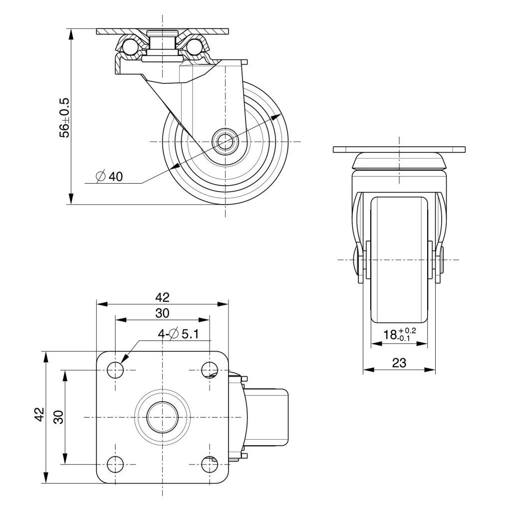 Přístrojové kolečko pro měkké podlahy, Ø 40 mm