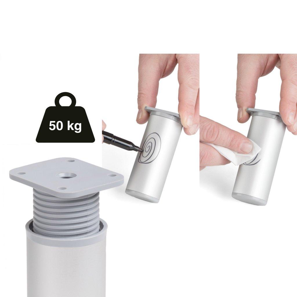 Nábytková noha Ø 40x60mm, 50 kg, plast, aluminium optik