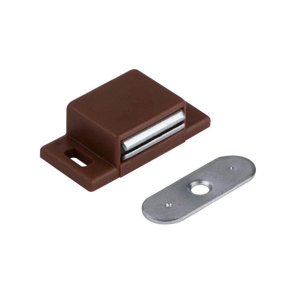 Nábytkový magnet, nosnost 2,5 - 3,5 kg, hnědý, 2 ks