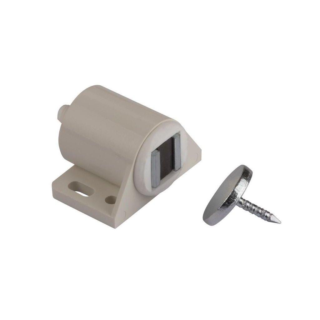 Nábytkový magnet, seřiditelný, nosnost 4 kg, bílý, 2 ks
