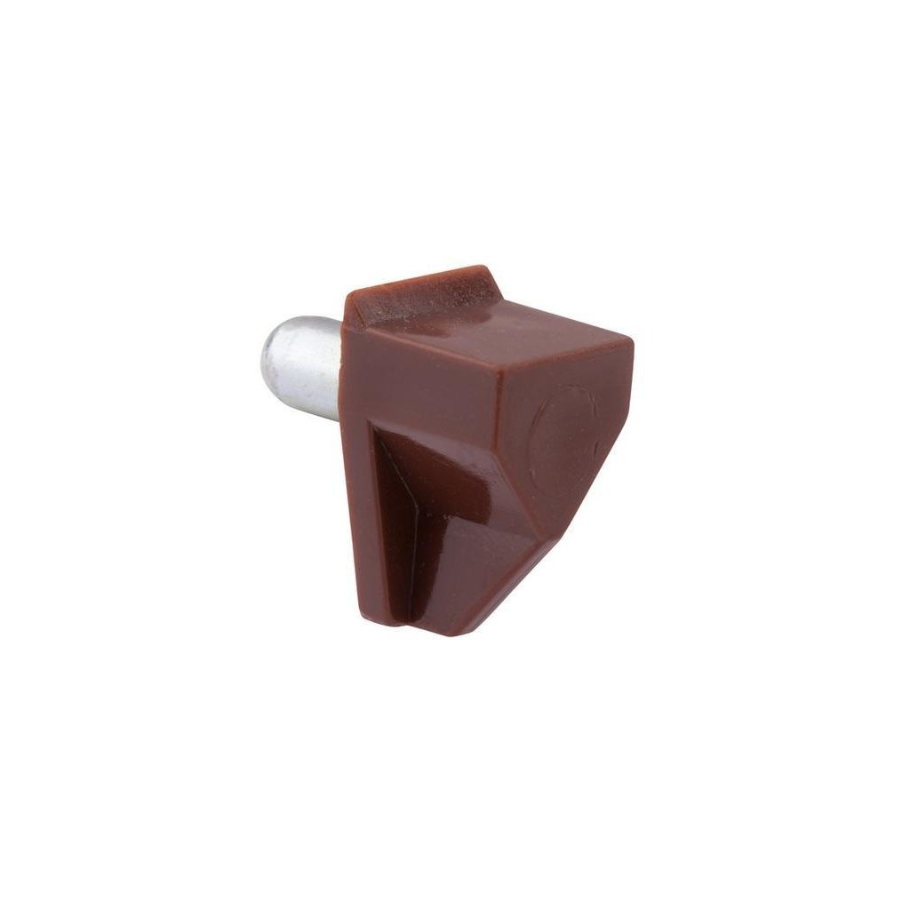 Hnědá plastová podpěrka polic, průměr 5mm, šířka 12 mm, 8 ks