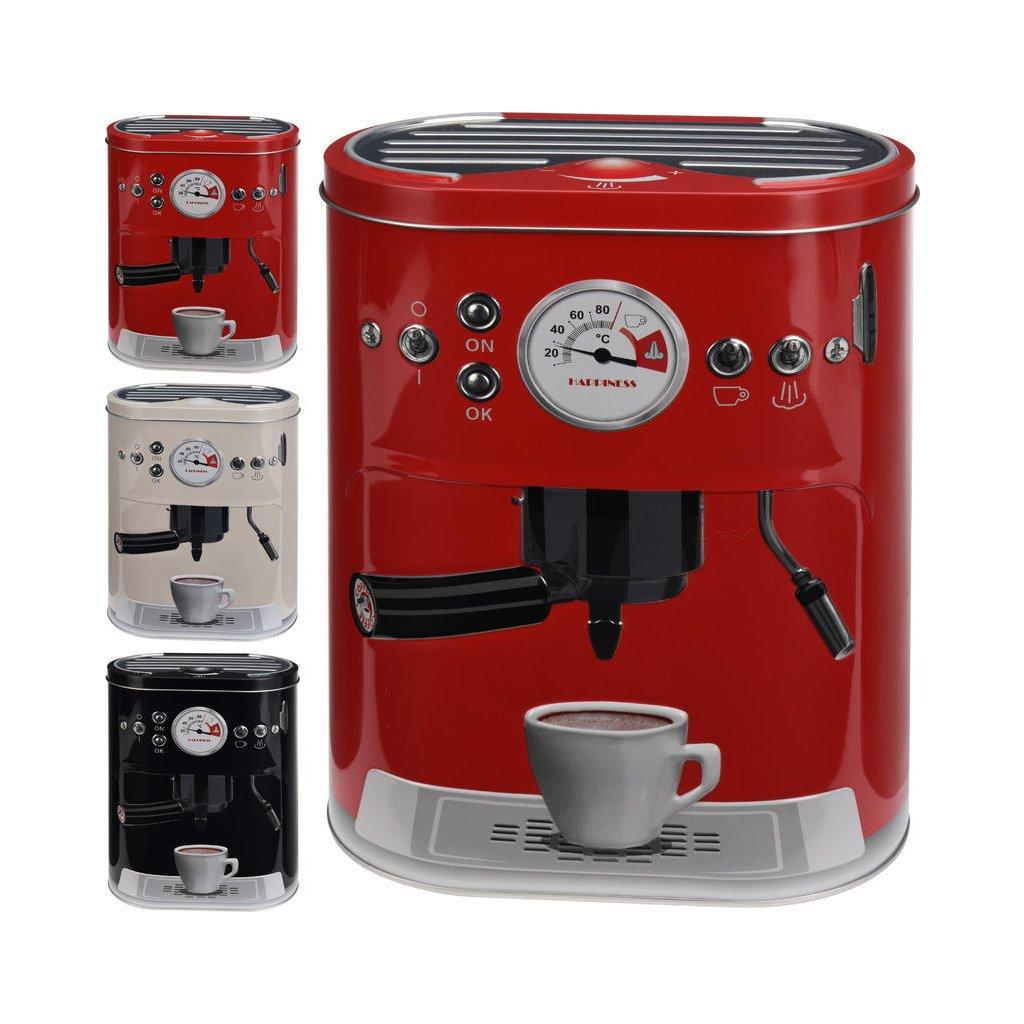 Plechová dóza k uchování potravin s dekorem kávovaru. Velikost 220x170x100mm