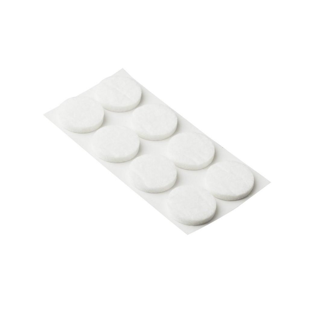 Filcové podložky Ø 20mm, samolepící, bílé, 8 ks