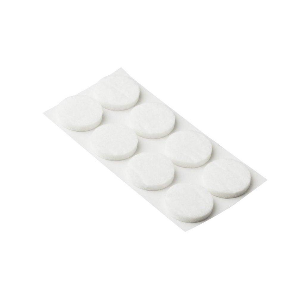 Filcové podložky, průměr 24mm, samolepící, bílé, 8 ks
