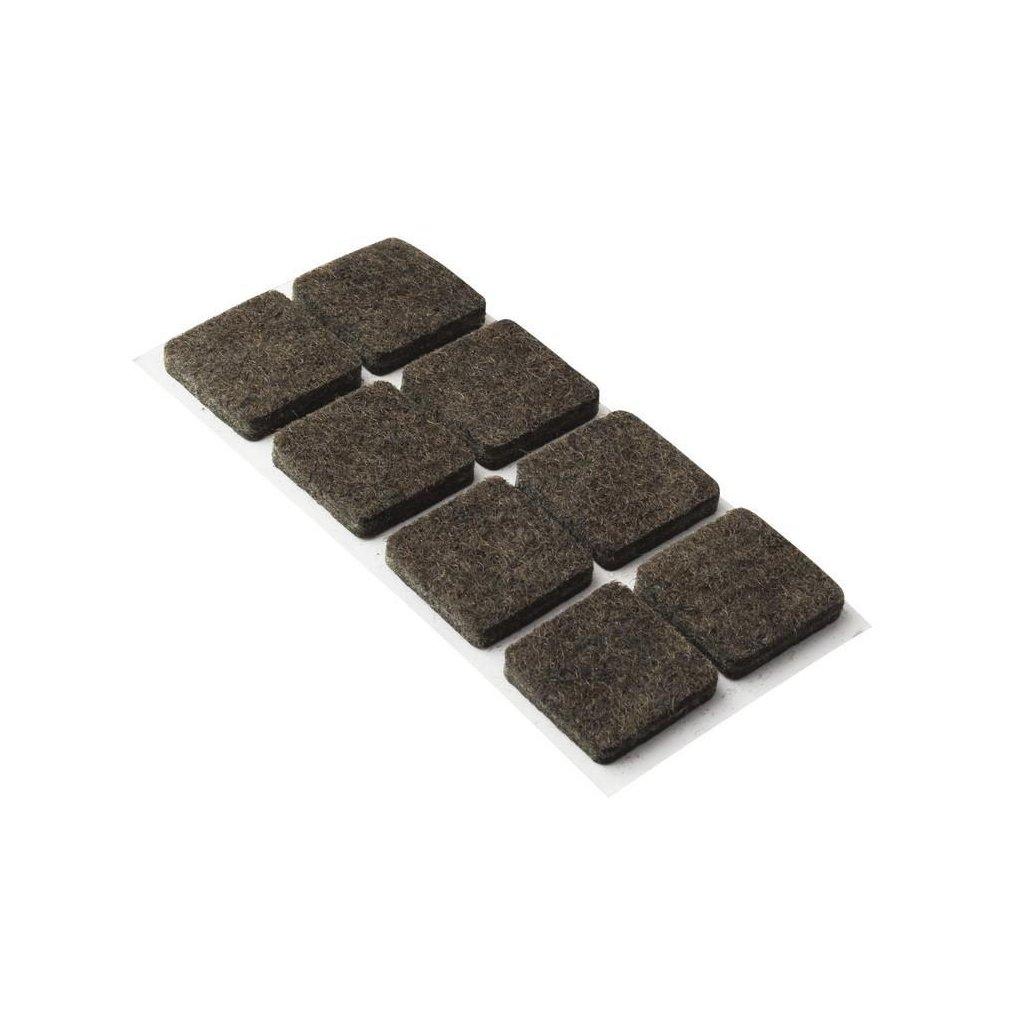 Filcové podložky 30x30mm, samolepící, hnědé, 8 ks