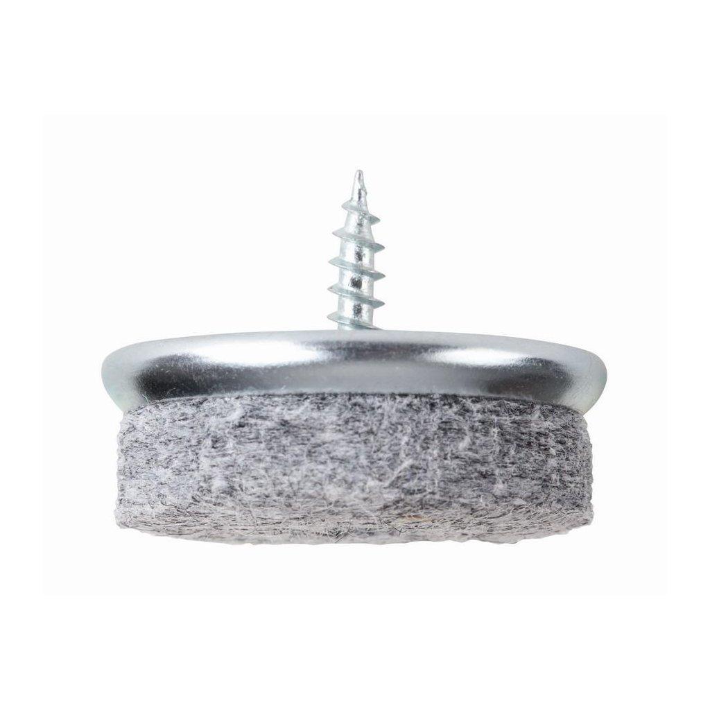 Filcový kluzák s vrutem, průměr 30mm, šedý, 4ks