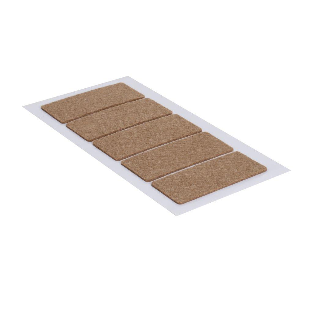 Filcové podložky 40x90mm, samolepící, hnědé, 5 ks
