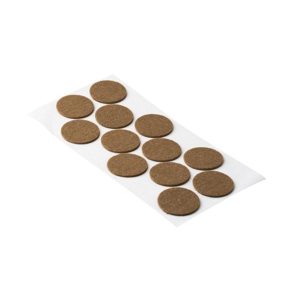 Filcové podložky, průměr 40mm, samolepící, hnědé, 12 ks