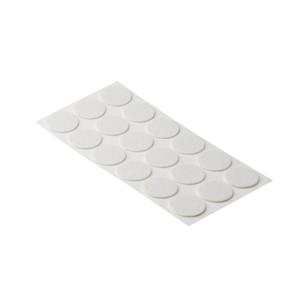 Filcové podložky, průměr 35mm, samolepící, bílé, 18 ks