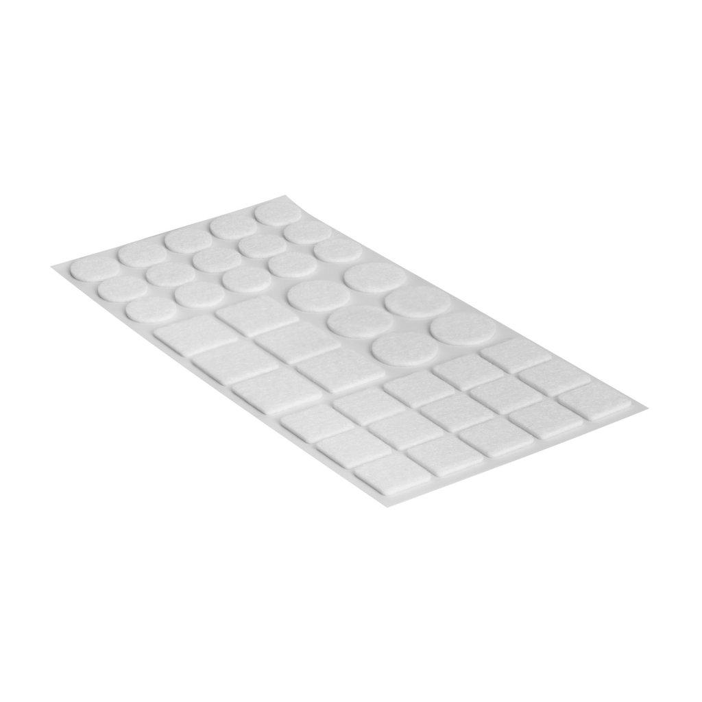 Sada filcových podložek, samolepící, bílá, 42 ks