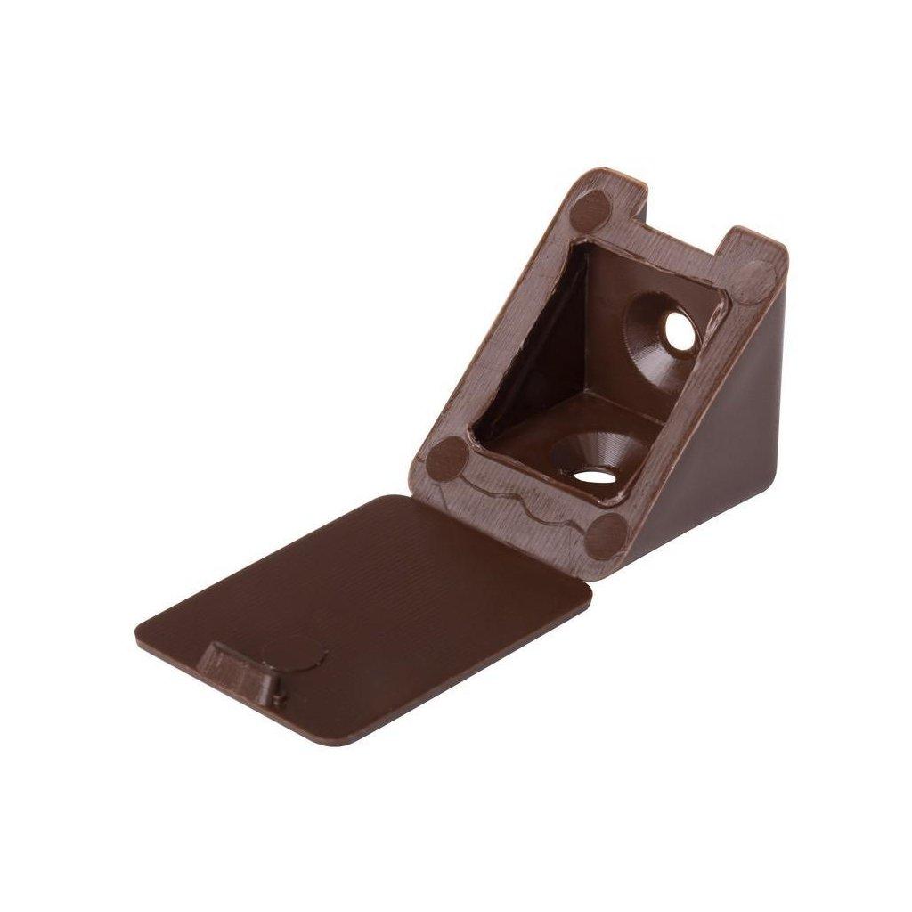Spojovací úhelník 22x22x23mm, plast, hnědý, 1 ks