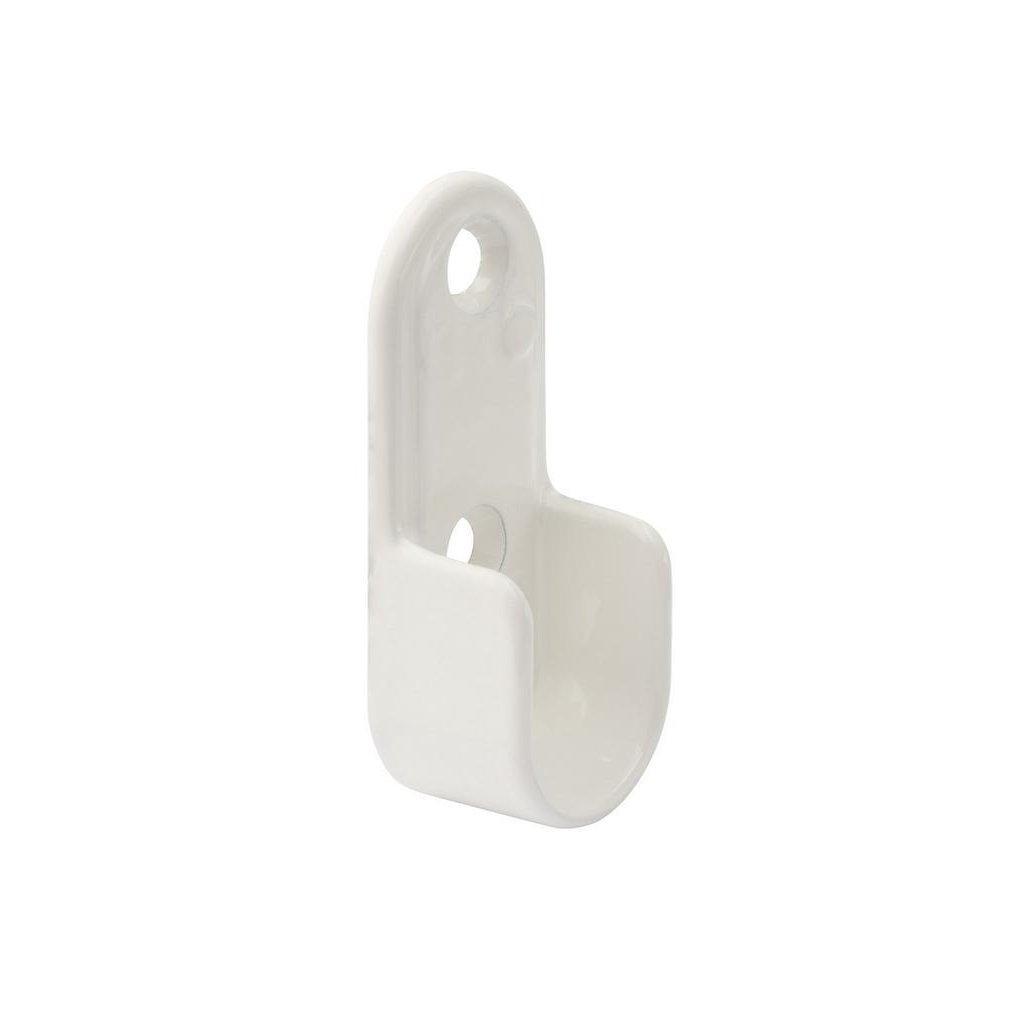Držák oválné šatní tyče 30x15mm, bílý, 2 ks