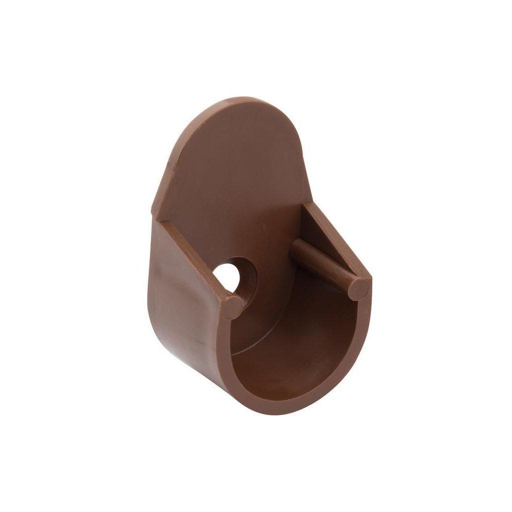 Držák šatní tyče, průměr 18mm, plast, hnědý, 2 ks