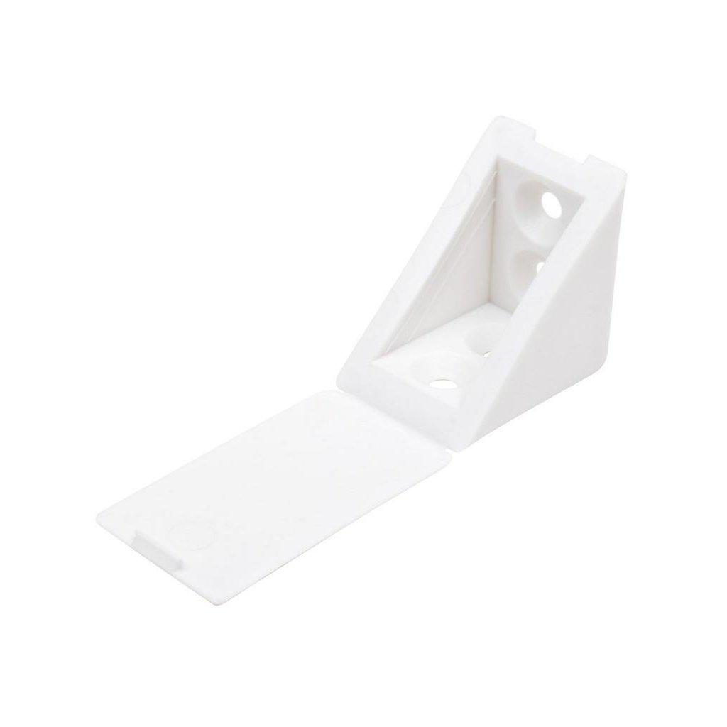 Spojovací úhelník 35x35x25mm, plast, bílý, 20 ks