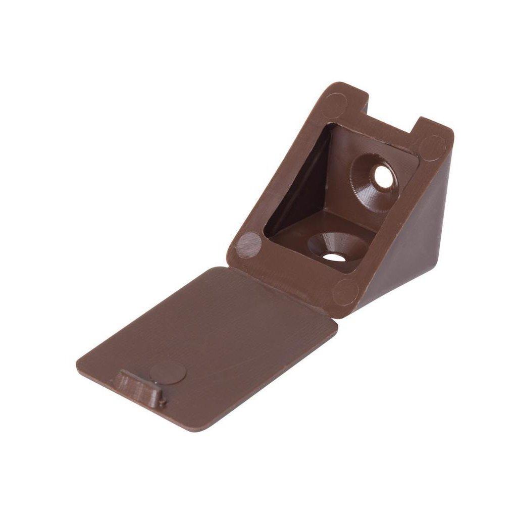Spojovací úhelník 22x22x23mm, plast, hnědý, 20 ks