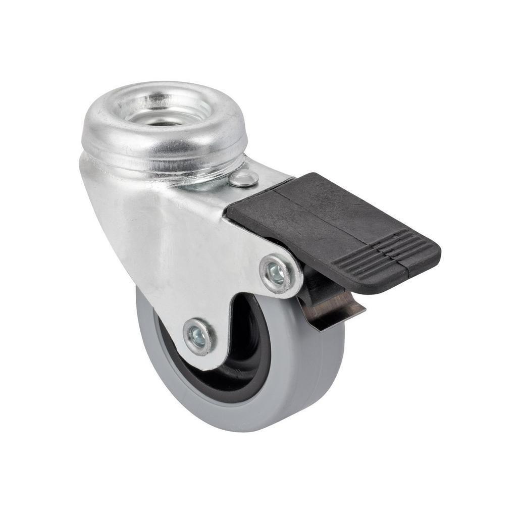 Přístrojové kolečko pro tvrdé podlahy, otočné s brzdou, průměr 50mm, 50x50mm