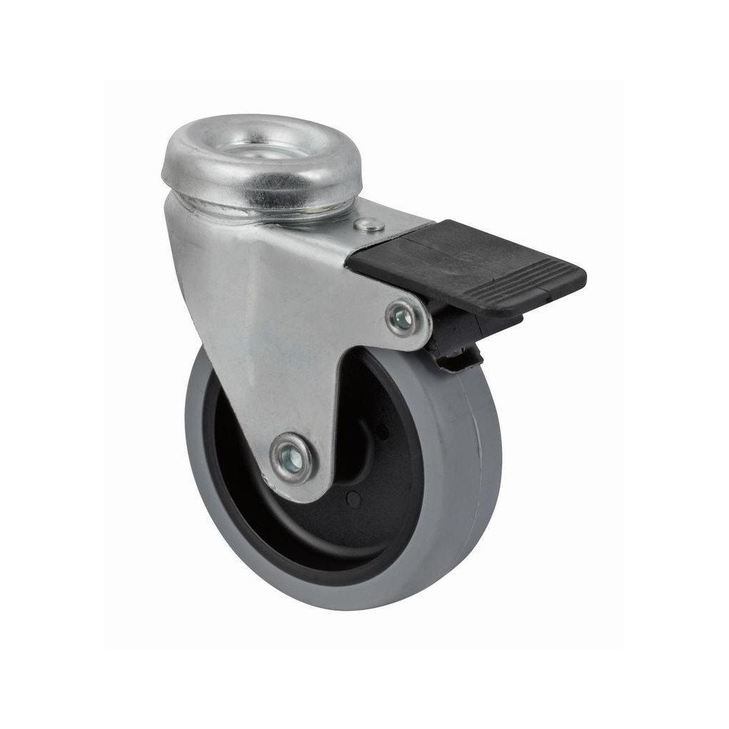 Přístrojové kolečko se středovým šroubem pro tvrdé podlahy, otočné s brzdou, průměr 75 mm