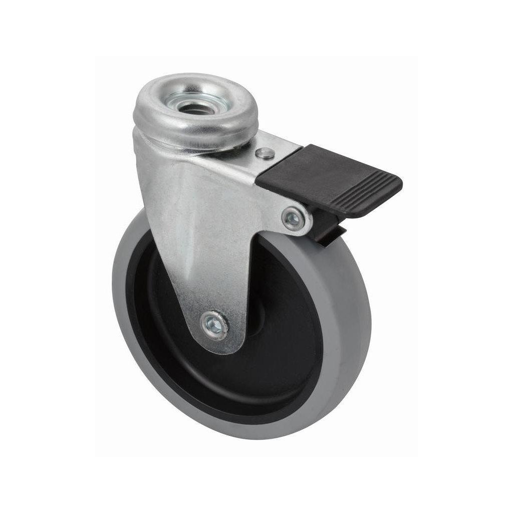 Přístrojové kolečko se středovým šroubem pro tvrdé podlahy, otočné s brzdou, průměr 100 mm