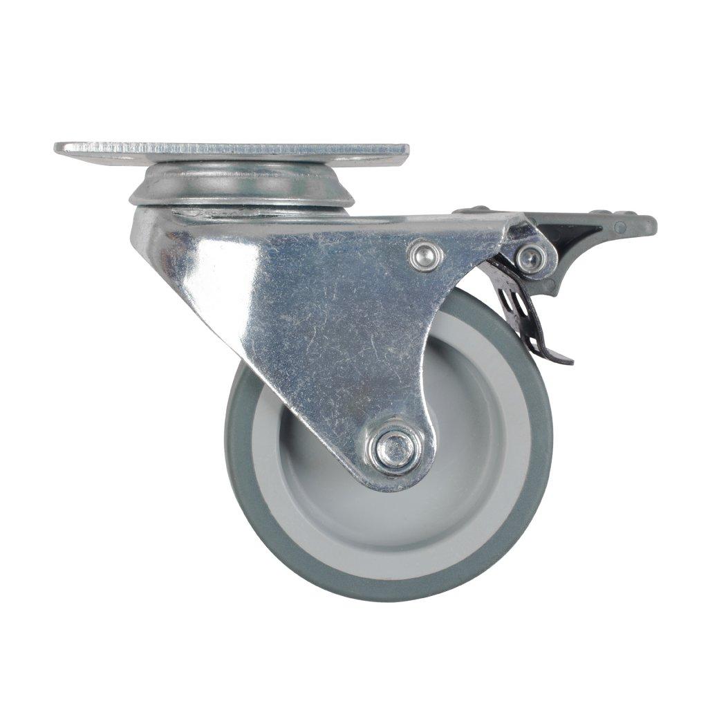 Přístrojové dvojité kolečko, průměr 75mm, otočné s destičkou, brzda, nosnost 100kg