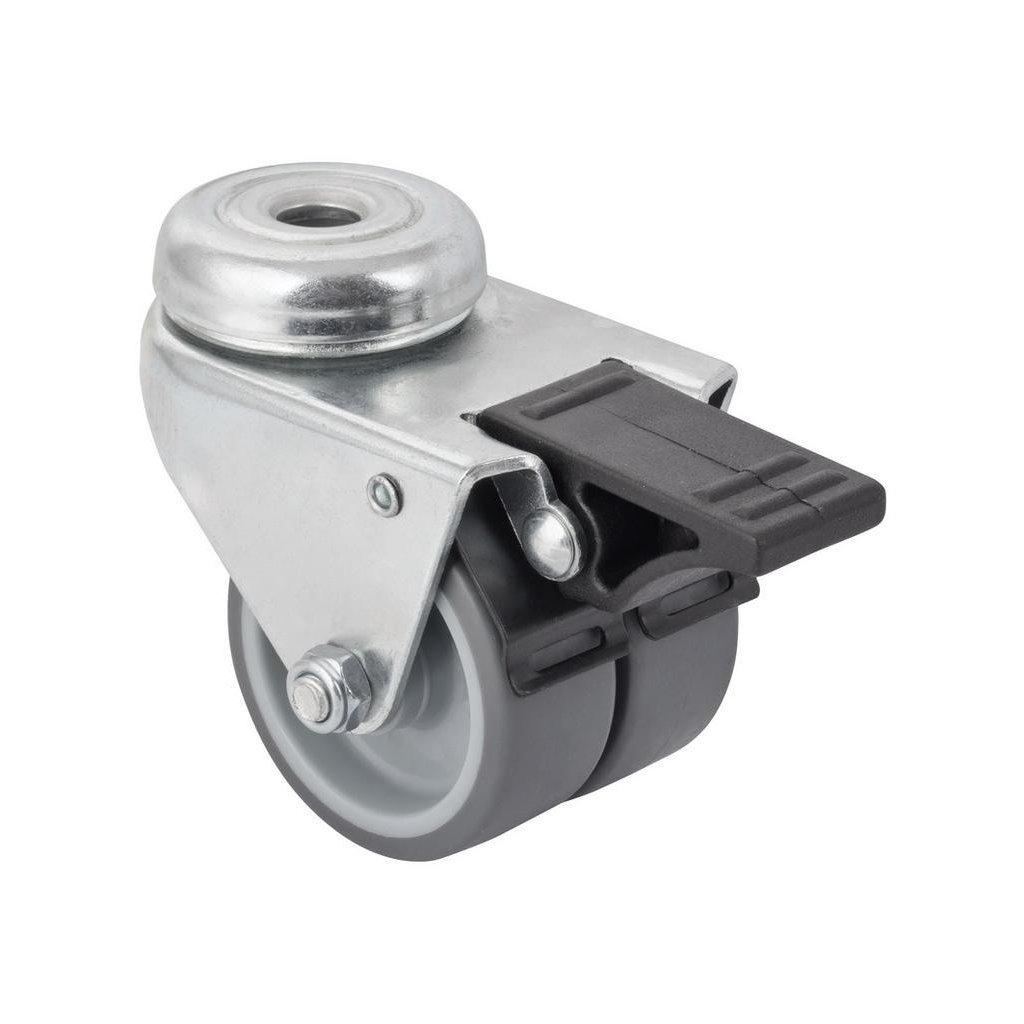 Přístrojové dvojité kolečko, průměr 50mm, otočné s otvorem, brzda, nosnost 70kg