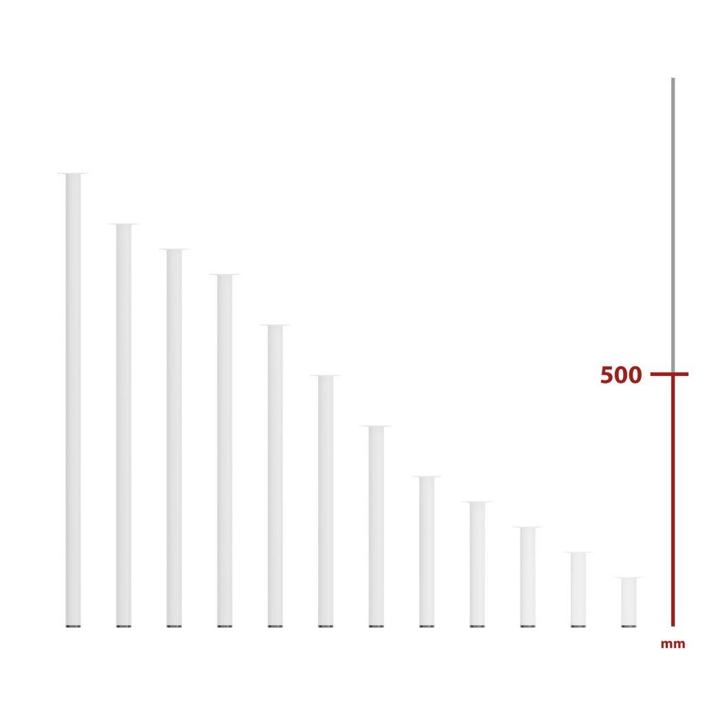 Nábytková noha kulatá Ø 30x500mm, bílá