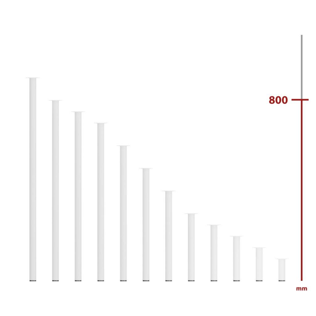 Nábytková noha kulatá Ø 30x800mm, bílá