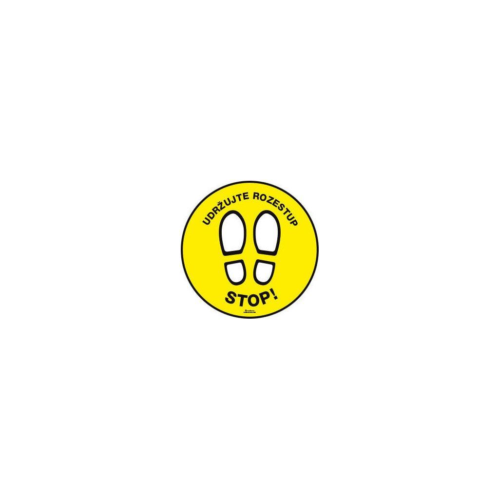 """Samolepka """"STOP! Udržujte rozestup"""", průměr 40 cm"""