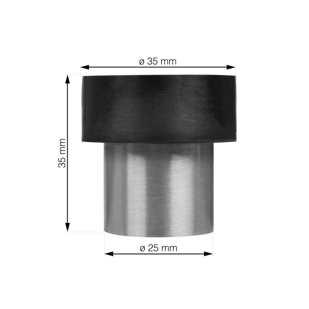 Dveřní zarážka průměr 35x35mm, kartáčovaná nerez