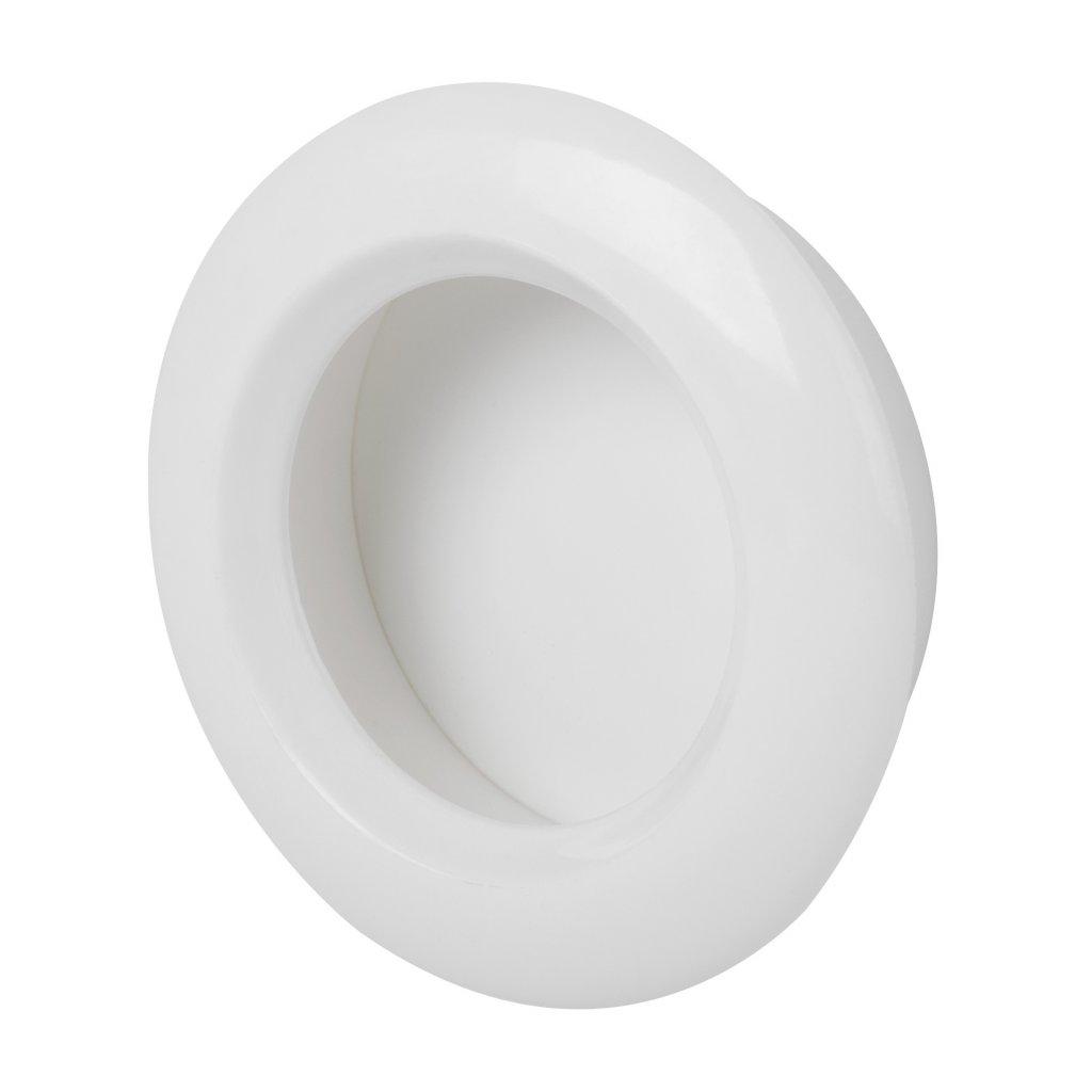 Nábytková úchytka průměr 40/51mm, plast, bílá