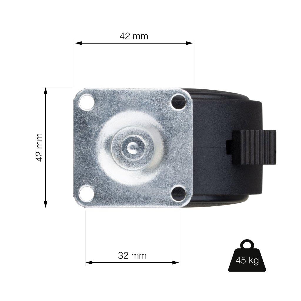 Nábytkové kolečko s brzdou, průměr 50 mm, nosnost 40 kg