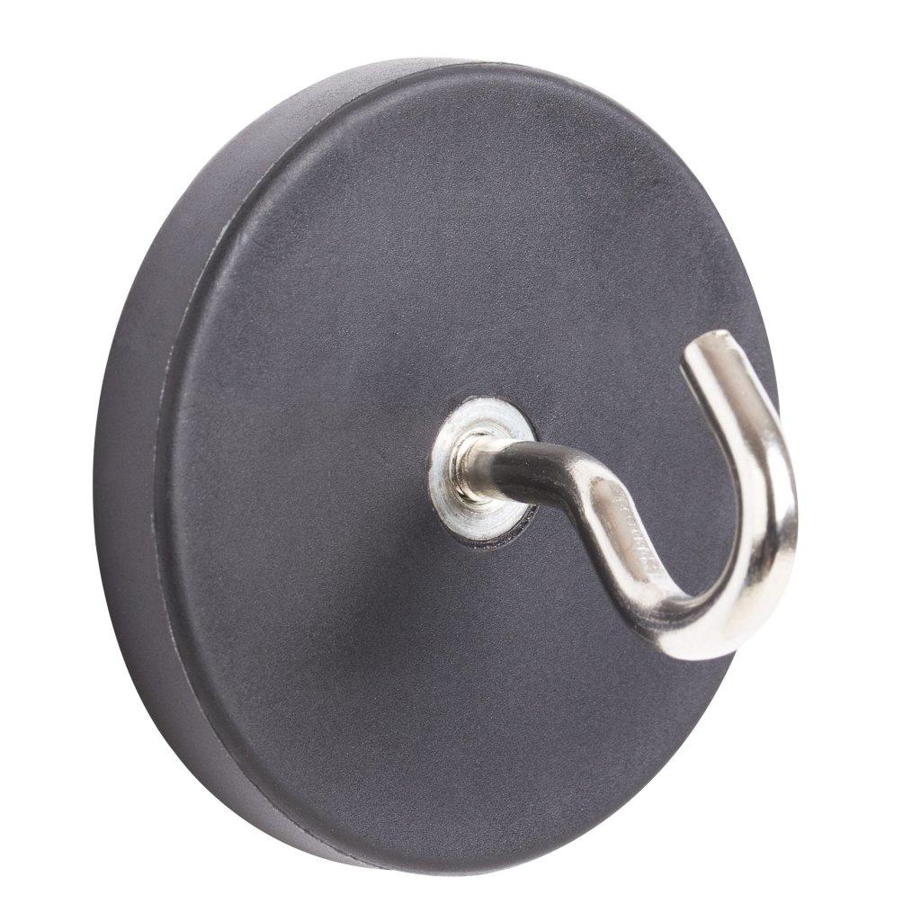 Pogumovaný neodymový magnet průměr 43mm, s háčkem, nosnost 10kg