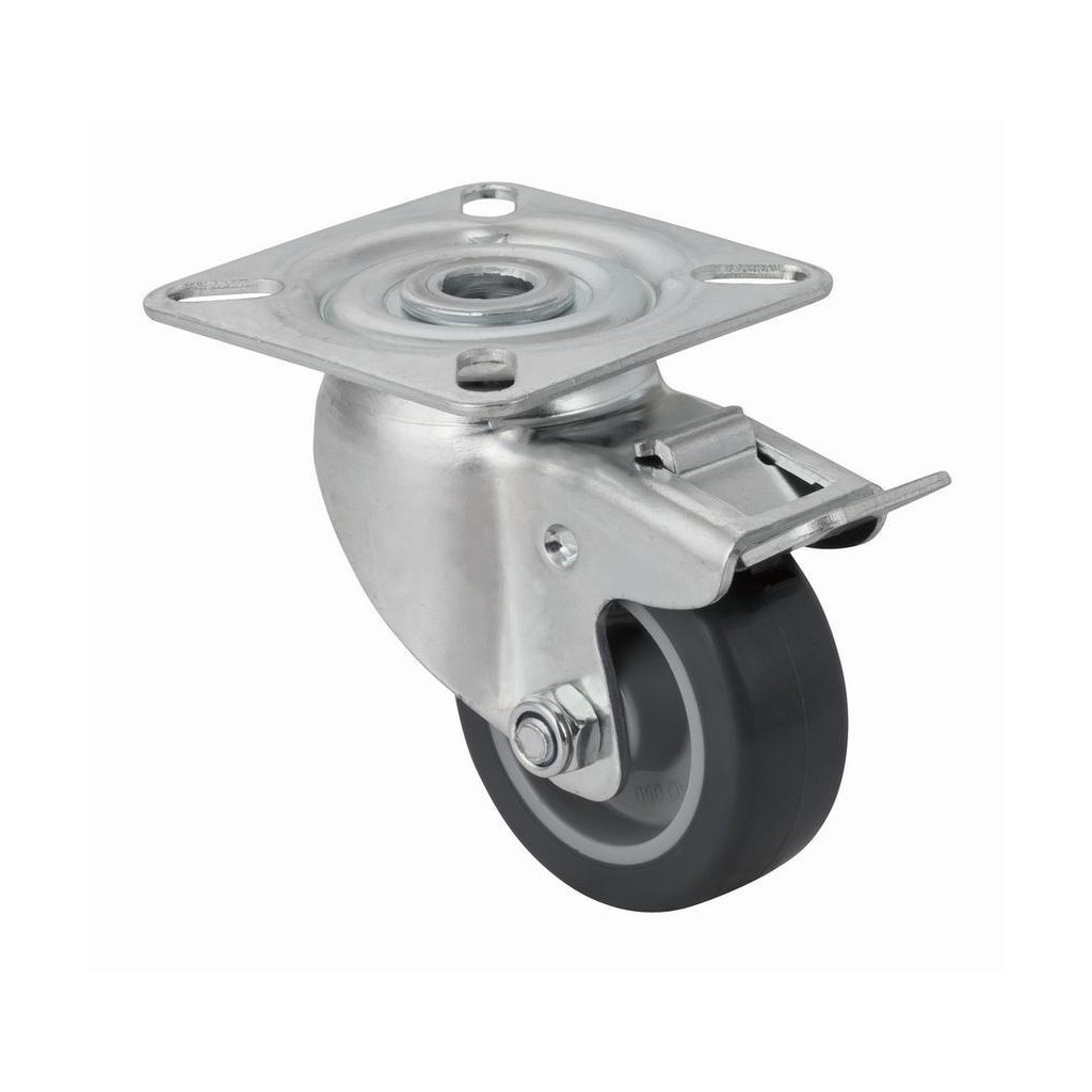 Přístrojové kolečko pro tvrdé podlahy, otočné s brzdou, průměr 50mm, 80x60x110mm