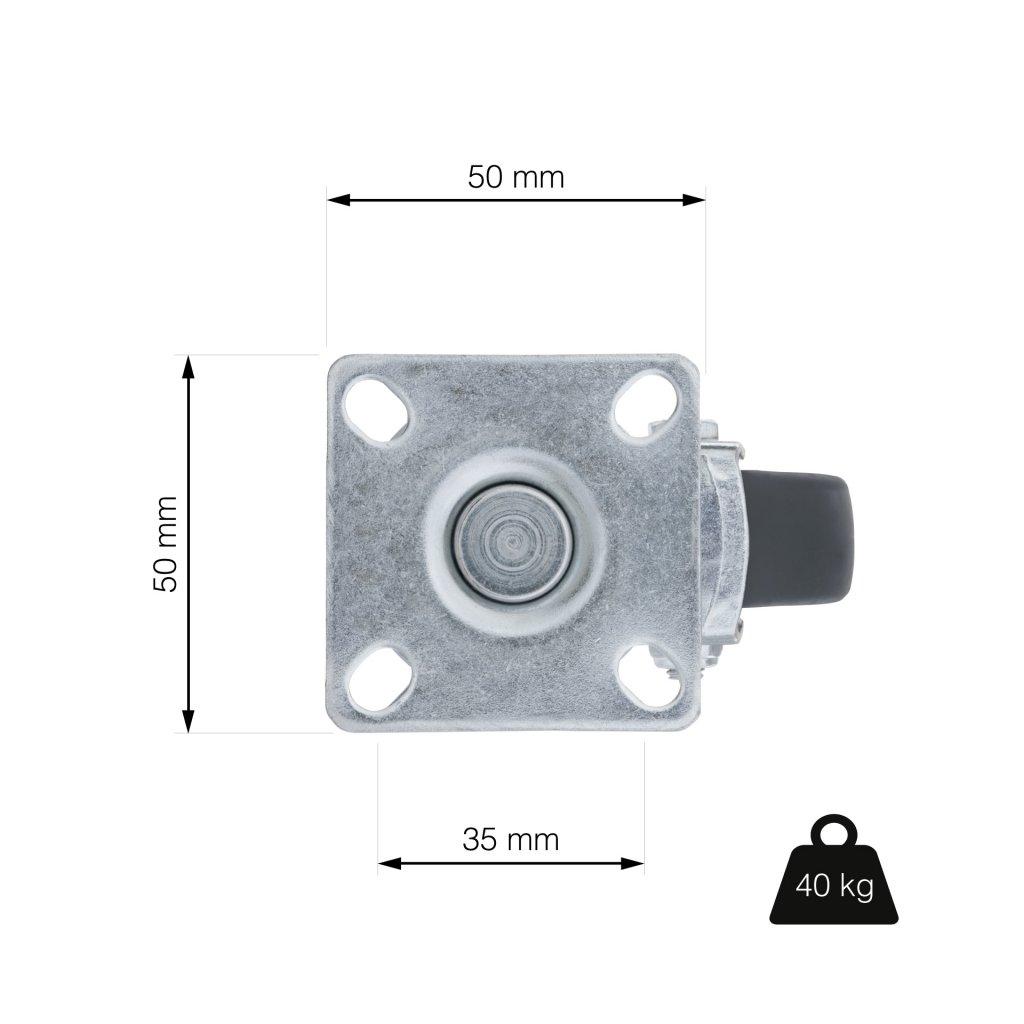 Přístrojové kolečko černé otočné s plotnou pro tvrdé podlahy, průměr 50 mm