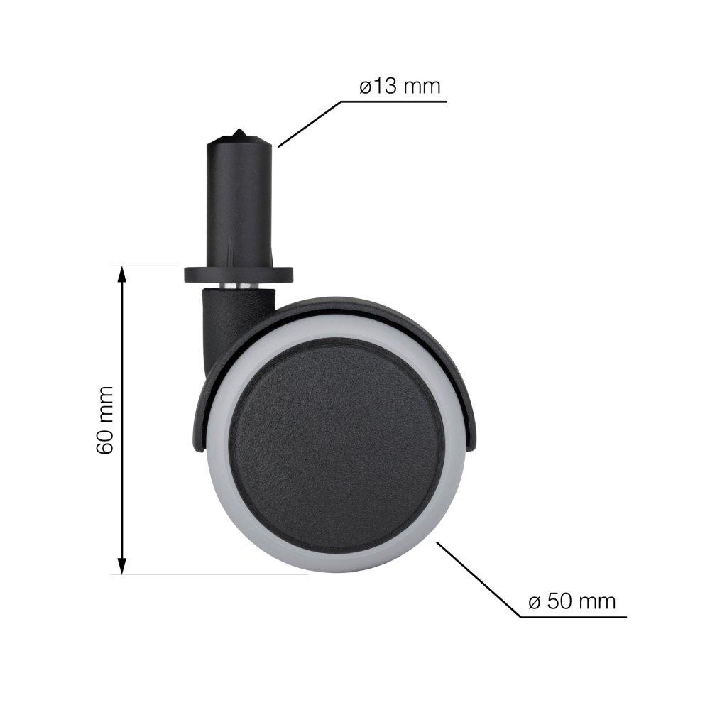 Nábytkové kolečko s čepem, průměr 50 mm, výška 45 mm