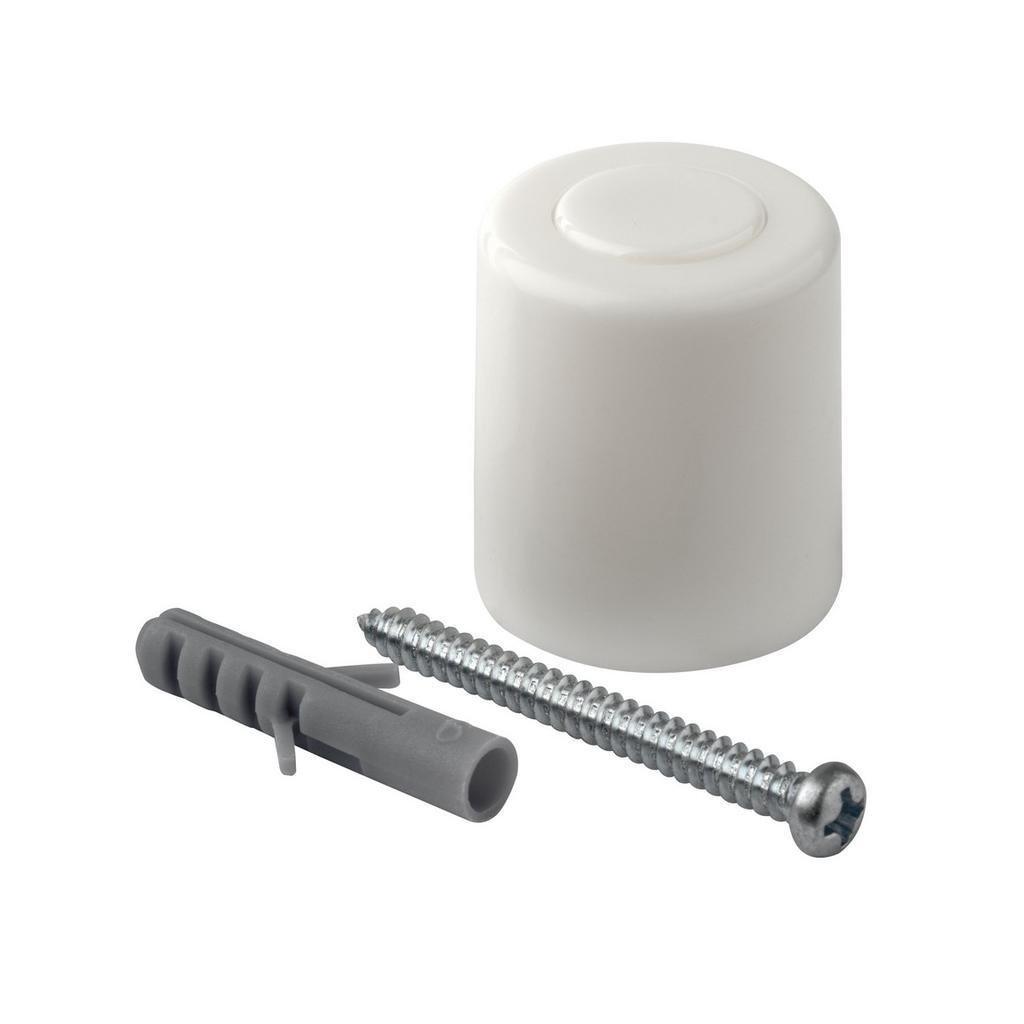 Dveřní zarážka, průměr 26x31mm, plast, bílá, 2 ks
