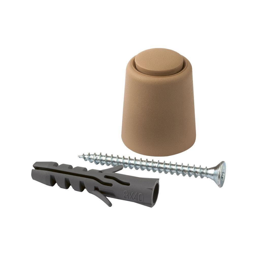 Dveřní zarážka Ø 24x30mm, plast, béžová, 2 ks