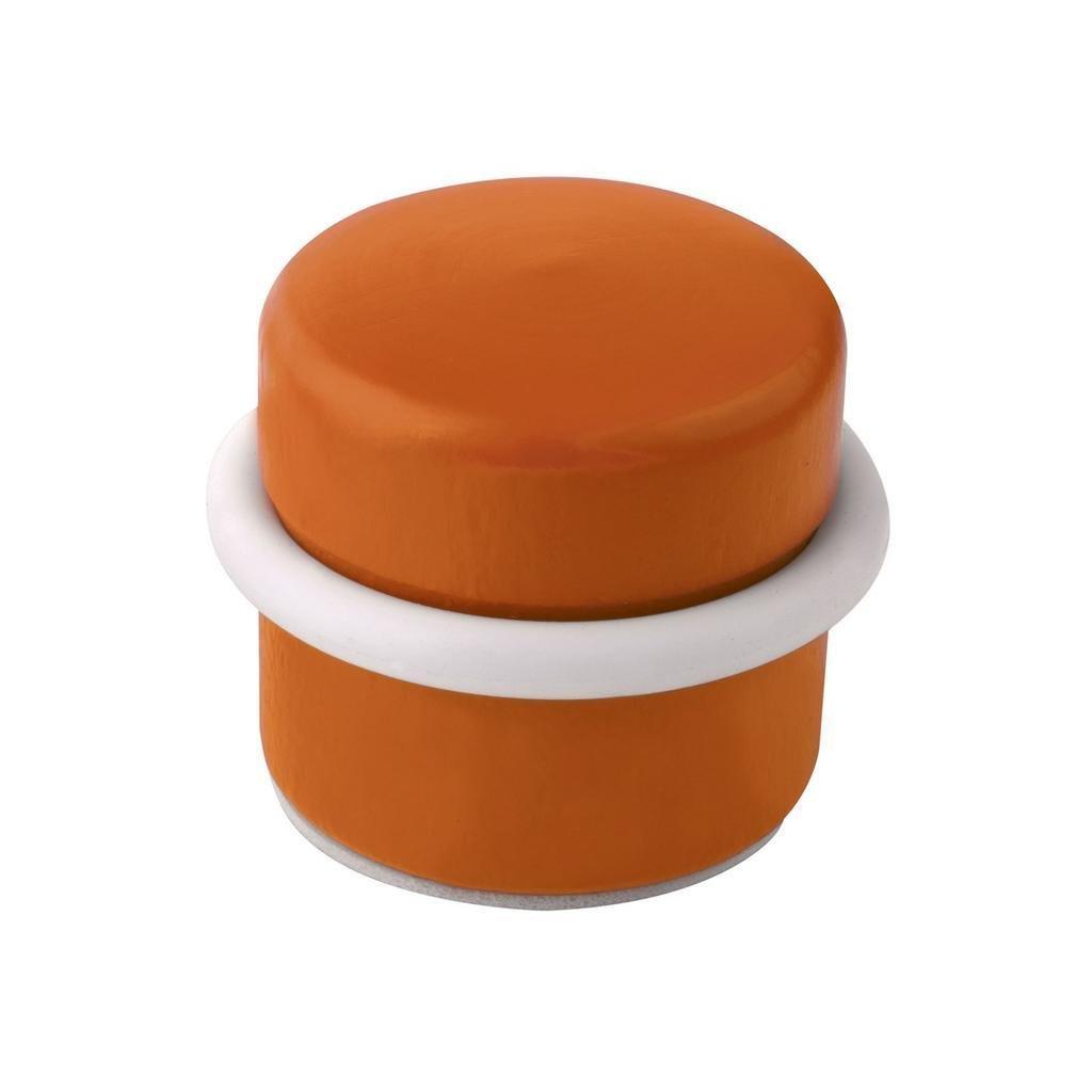 Dveřní zarážka, průměr 37x30mm, dřevo, samolepící, oranžová