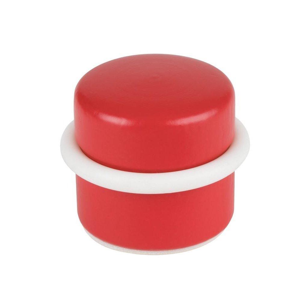 Dveřní zarážka Ø 37x32mm, dřevo, samolepící, červená