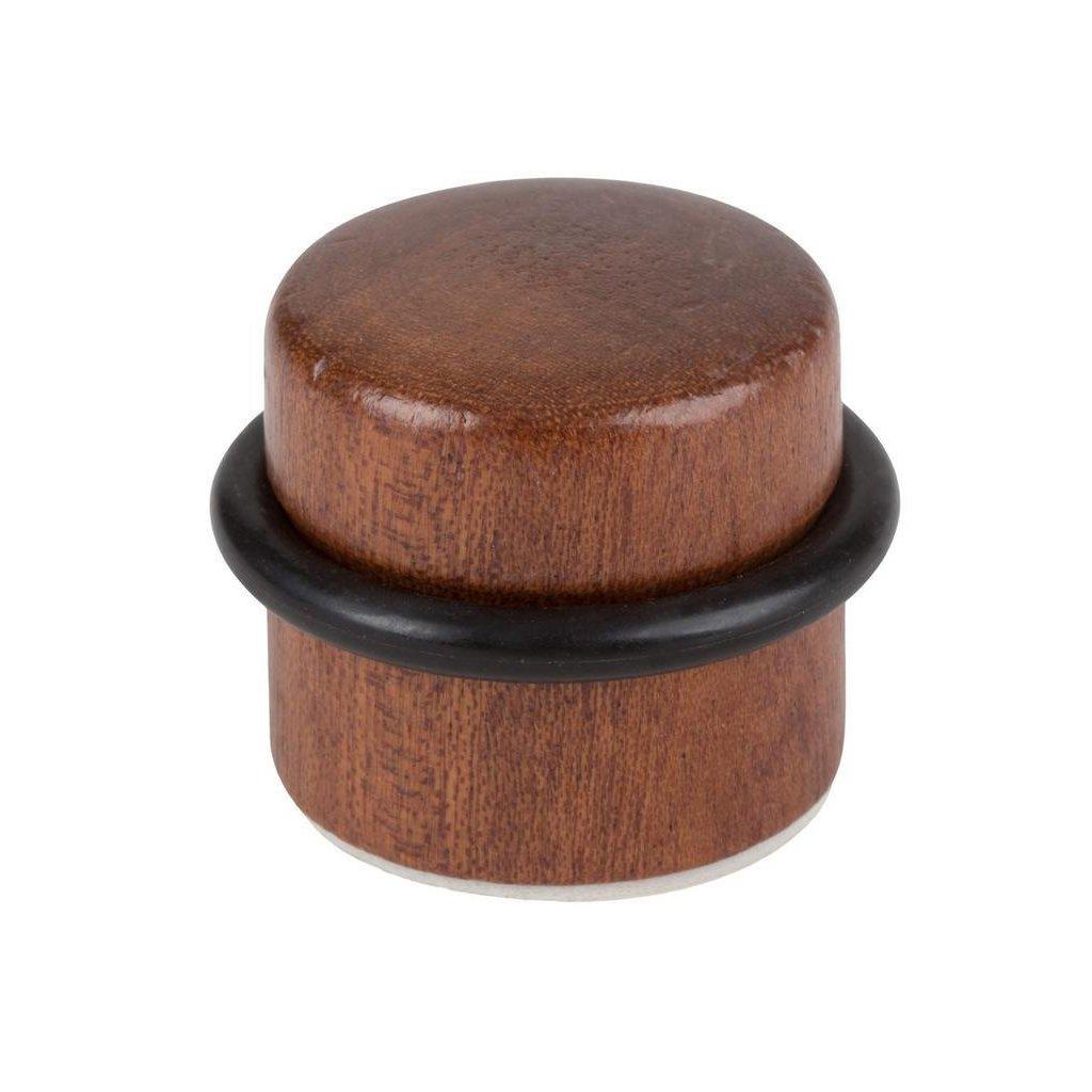 Dveřní zarážka Ø 37x32mm, dřevo, samolepící, mahagon