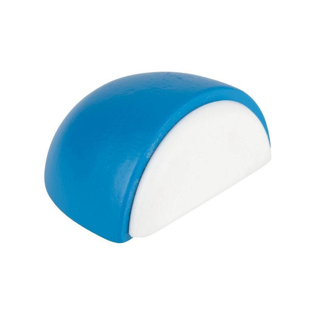 Dveřní zarážka 47x23x39mm, dřevo, samolepící, modrá