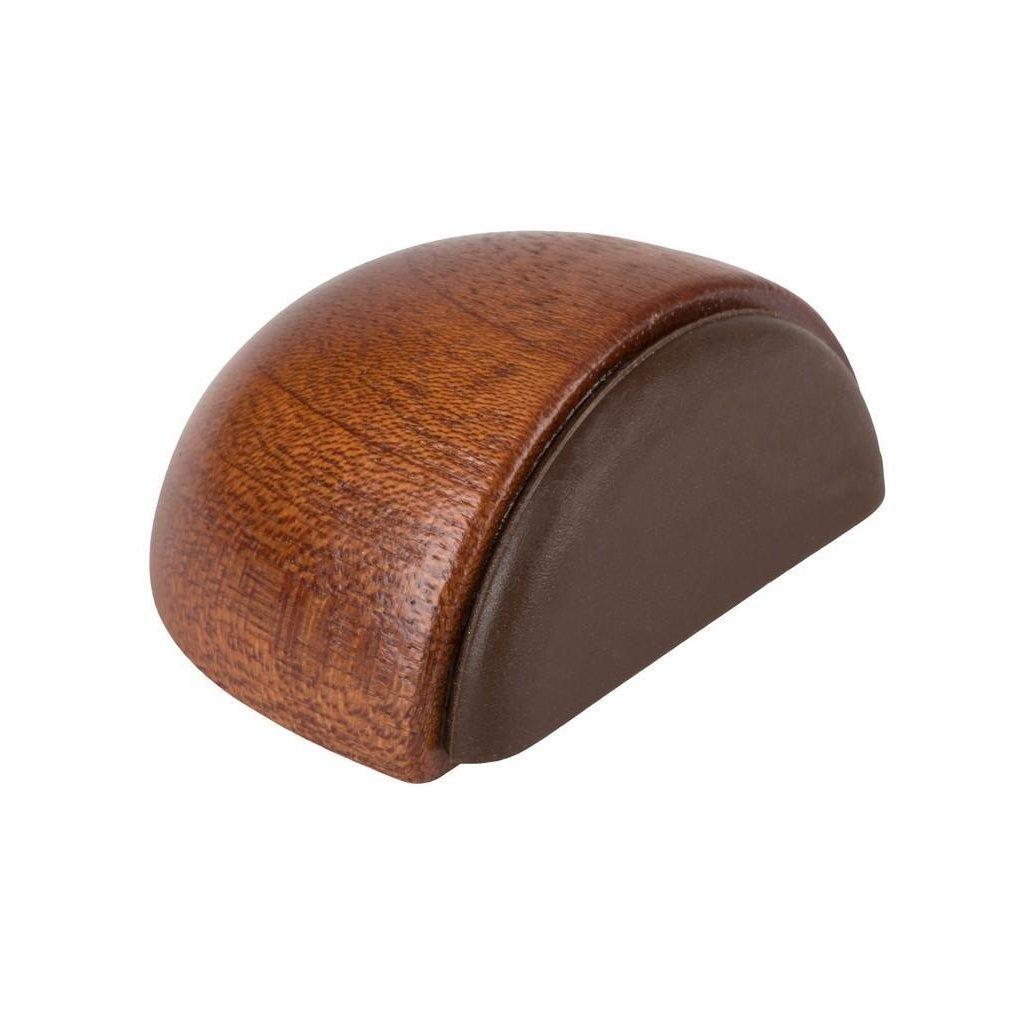 Dveřní zarážka 47x23x36mm, dřevo, samolepící+k přišroubování, mahagon