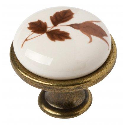 Nábytkový knopek Rose, průměr 28mm, kombinace porcelán / mosaz patina