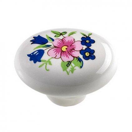 Nábytkový knopek Kytice Ø 30x22mm, porcelán