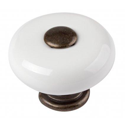 Nábytková knopka, průměr 33mm, mosaz patina/bílá