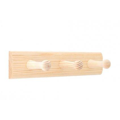 Věšáková lišta 240x50mm, 3 věšáky, borovice